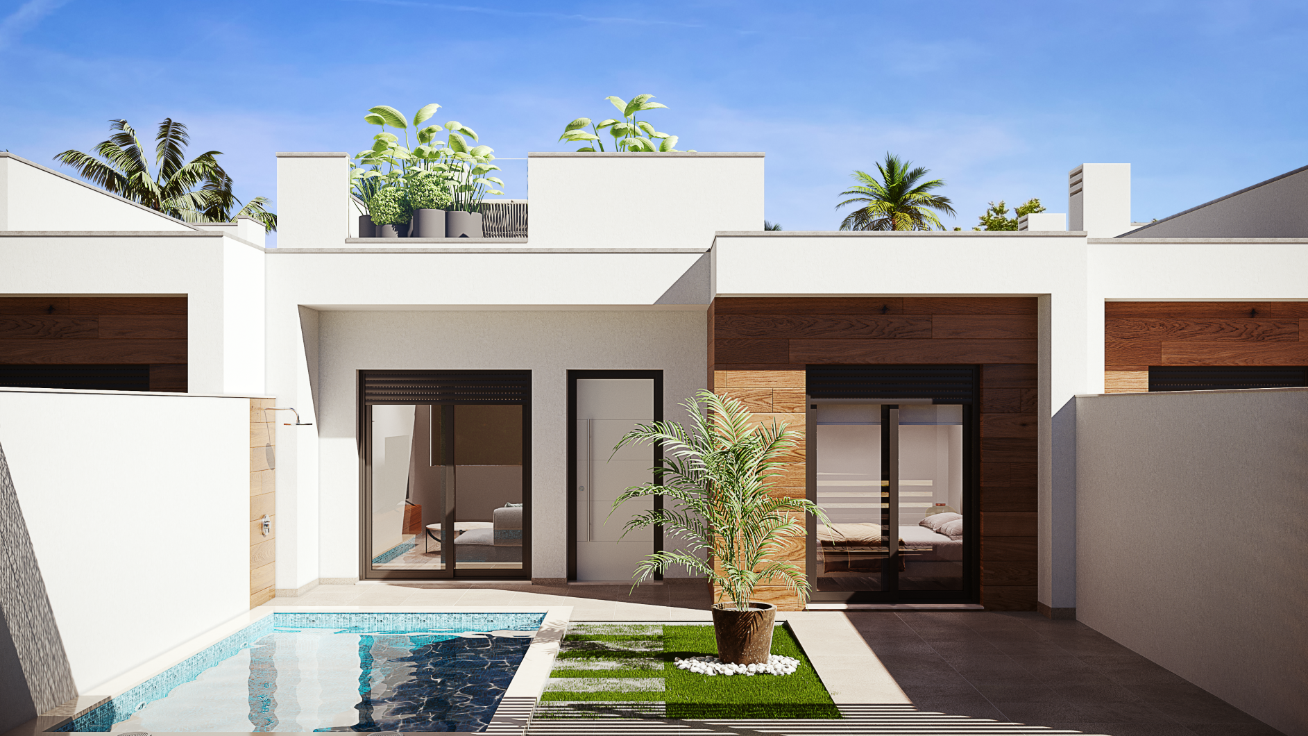 Terraced villas with a private pool on one level